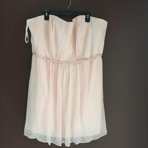 Peachy pink mini Chiffon Short Dress, Beaded Belt